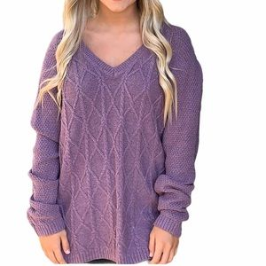 Sonoma Textured Cable Knit V Neck Sweater Purple L